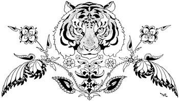 tiger w floral